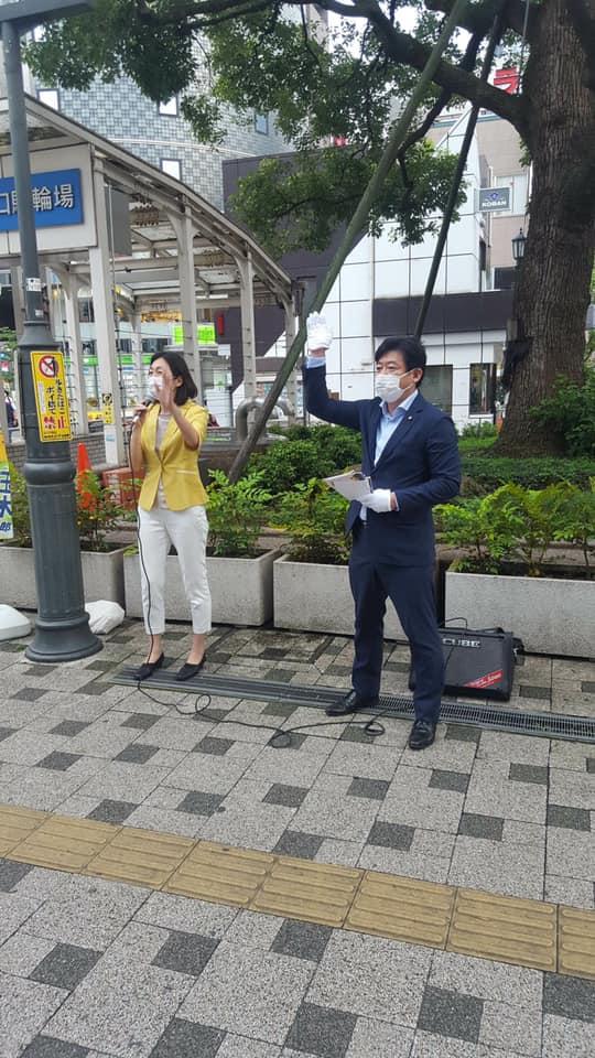 ⽔野もとこさんとともに、⻄葛⻄駅で駅頭演説