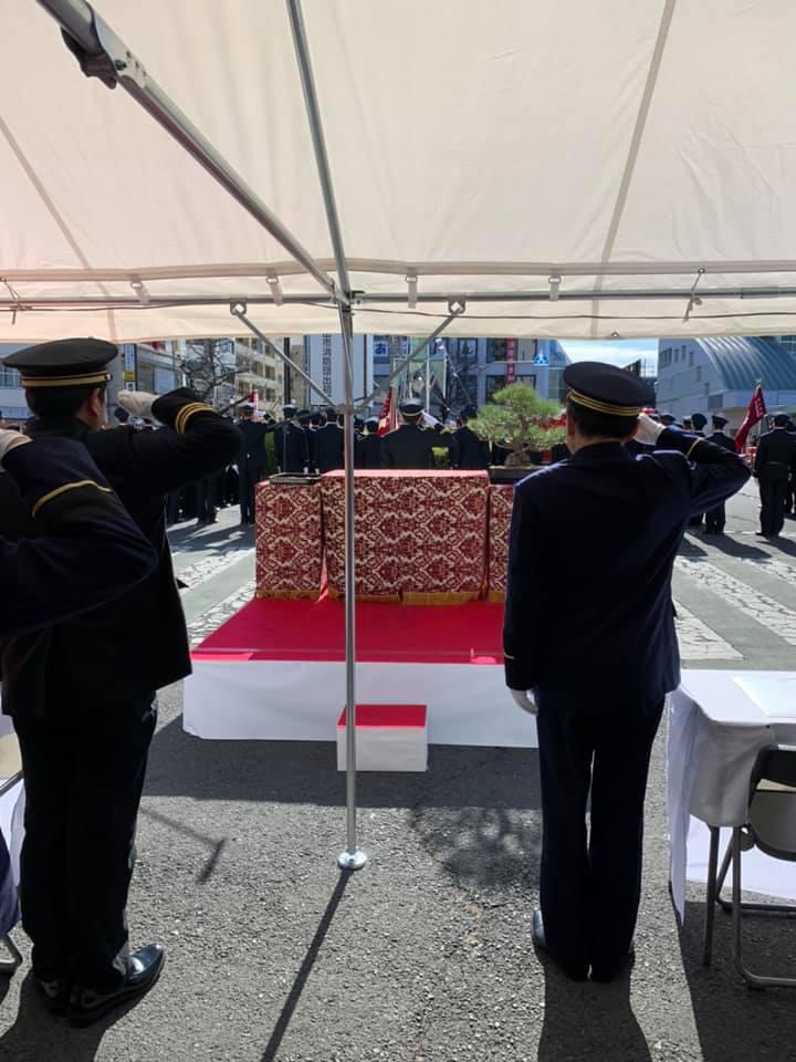 東村⼭市消防団の出初式に参加させて頂きました。